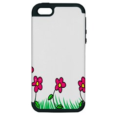 Floral Doodle Flower Border Cartoon Apple Iphone 5 Hardshell Case (pc+silicone)