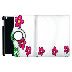 Floral Doodle Flower Border Cartoon Apple Ipad 3/4 Flip 360 Case by Nexatart