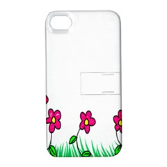 Floral Doodle Flower Border Cartoon Apple Iphone 4/4s Hardshell Case With Stand by Nexatart