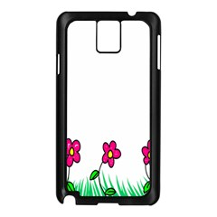 Floral Doodle Flower Border Cartoon Samsung Galaxy Note 3 N9005 Case (black) by Nexatart