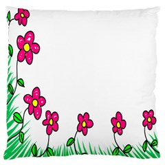 Floral Doodle Flower Border Cartoon Large Flano Cushion Case (two Sides) by Nexatart