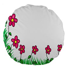 Floral Doodle Flower Border Cartoon Large 18  Premium Flano Round Cushions by Nexatart