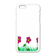 Floral Doodle Flower Border Cartoon Apple Iphone 6/6s White Enamel Case by Nexatart