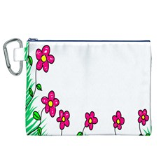 Floral Doodle Flower Border Cartoon Canvas Cosmetic Bag (xl)