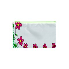Floral Doodle Flower Border Cartoon Cosmetic Bag (xs) by Nexatart