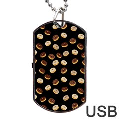 Donuts Pattern Dog Tag Usb Flash (one Side) by Valentinaart