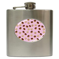 Donuts Pattern Hip Flask (6 Oz) by Valentinaart
