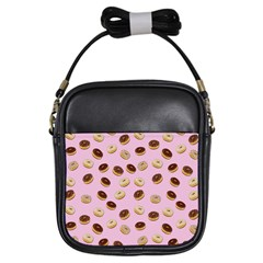 Donuts Pattern Girls Sling Bags by Valentinaart