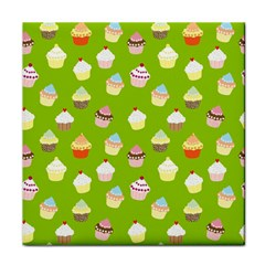 Cupcakes Pattern Tile Coasters by Valentinaart