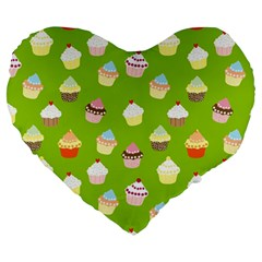 Cupcakes Pattern Large 19  Premium Heart Shape Cushions by Valentinaart
