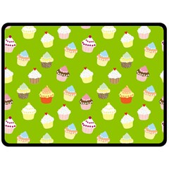 Cupcakes Pattern Double Sided Fleece Blanket (large)  by Valentinaart