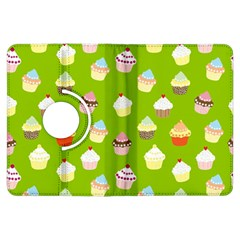 Cupcakes Pattern Kindle Fire Hdx Flip 360 Case by Valentinaart
