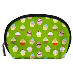 Cupcakes Pattern Accessory Pouches (large)  by Valentinaart
