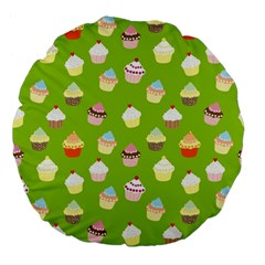 Cupcakes Pattern Large 18  Premium Flano Round Cushions by Valentinaart
