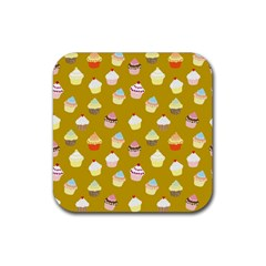 Cupcakes Pattern Rubber Square Coaster (4 Pack)  by Valentinaart