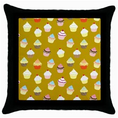 Cupcakes Pattern Throw Pillow Case (black) by Valentinaart