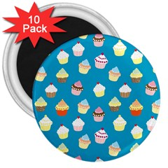 Cupcakes Pattern 3  Magnets (10 Pack)  by Valentinaart