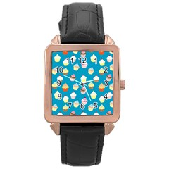 Cupcakes Pattern Rose Gold Leather Watch  by Valentinaart
