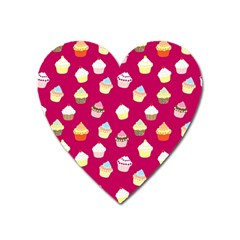 Cupcakes Pattern Heart Magnet by Valentinaart