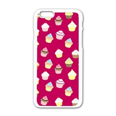 Cupcakes Pattern Apple Iphone 6/6s White Enamel Case by Valentinaart