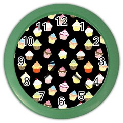 Cupcakes Pattern Color Wall Clocks by Valentinaart