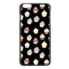 Cupcakes Pattern Apple Iphone 6 Plus/6s Plus Black Enamel Case by Valentinaart