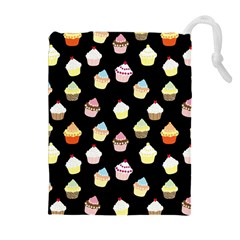 Cupcakes Pattern Drawstring Pouches (extra Large) by Valentinaart