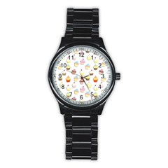 Cupcakes Pattern Stainless Steel Round Watch by Valentinaart