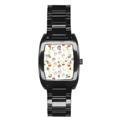 Cupcakes Pattern Stainless Steel Barrel Watch by Valentinaart
