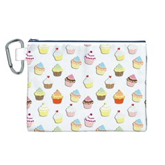 Cupcakes Pattern Canvas Cosmetic Bag (l) by Valentinaart