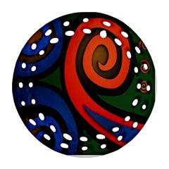 Simple Batik Patterns Ornament (round Filigree) by Onesevenart