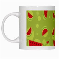 Watermelon Fruit Patterns White Mugs by Onesevenart