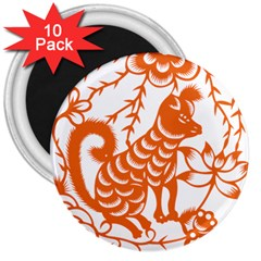 Chinese Zodiac Dog 3  Magnets (10 Pack)  by Onesevenart
