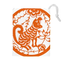 Chinese Zodiac Dog Drawstring Pouches (extra Large) by Onesevenart