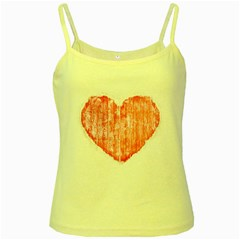 Pop Art Style Grunge Graphic Heart Yellow Spaghetti Tank by dflcprints
