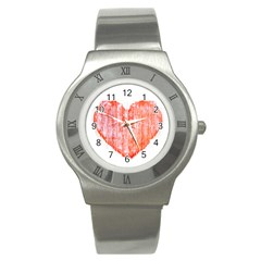 Pop Art Style Grunge Graphic Heart Stainless Steel Watch by dflcprints