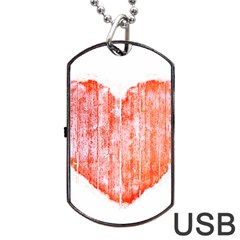 Pop Art Style Grunge Graphic Heart Dog Tag Usb Flash (one Side) by dflcprints