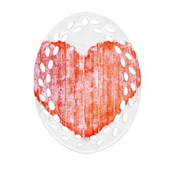 Pop Art Style Grunge Graphic Heart Ornament (oval Filigree) by dflcprints