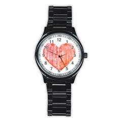 Pop Art Style Grunge Graphic Heart Stainless Steel Round Watch by dflcprints