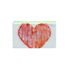 Pop Art Style Grunge Graphic Heart Cosmetic Bag (xs) by dflcprints