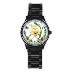 National Emblem Of Guatemala Stainless Steel Round Watch by abbeyz71