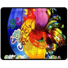 Chinese Zodiac Signs Double Sided Fleece Blanket (medium)  by Onesevenart