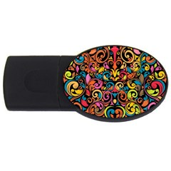 Art Traditional Pattern Usb Flash Drive Oval (4 Gb) by Onesevenart