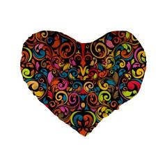 Art Traditional Pattern Standard 16  Premium Flano Heart Shape Cushions by Onesevenart