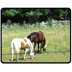 Horses, Rabbit, Squirrel, And Sleeping Kitty Fleece Blanket (medium) by SusanFranzblau