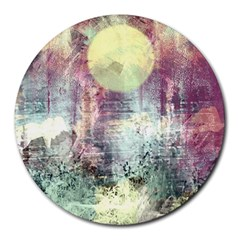 Frosty Pale Moon Round Mousepads by theunrulyartist