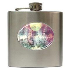 Frosty Pale Moon Hip Flask (6 Oz) by digitaldivadesigns
