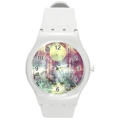 Frosty Pale Moon Round Plastic Sport Watch (m) by theunrulyartist