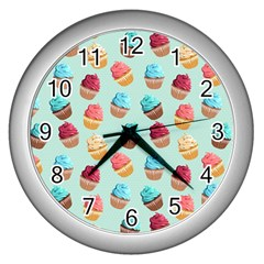 Cup Cakes Party Wall Clocks (silver)  by tarastyle