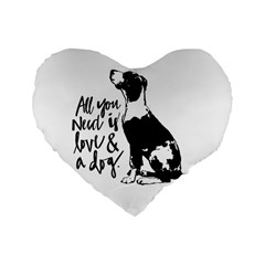 Dog Person Standard 16  Premium Heart Shape Cushions by Valentinaart